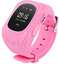 Kids Smart Watch Phone, GPS Tracker Smart Wrist Watch with SOS Anti-Lost Alarm Sim Card Slot Touch Screen Smartwatch for 3-12 Year Old Children Girls Boys Compatible for iOS Android (Pink1)