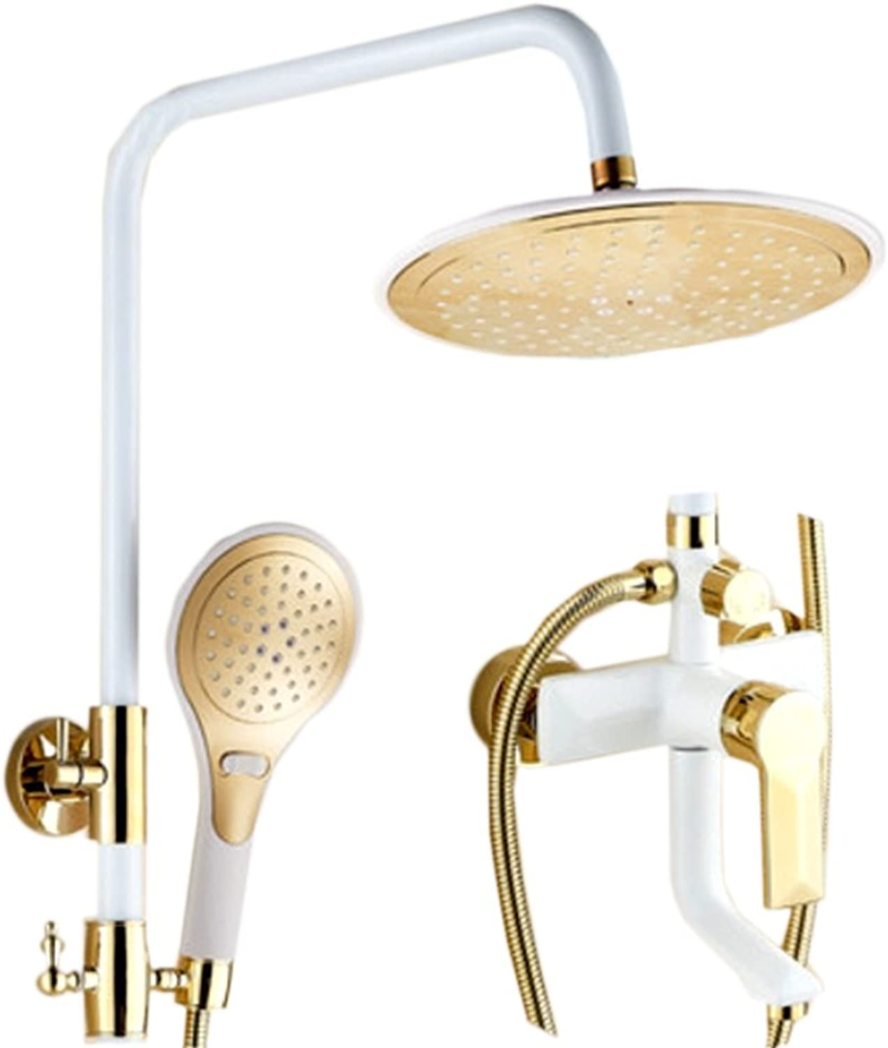 Shower LINGZHIGAN Set Wall Style European Style Home Bathroom Copper Faucet Hot And Cold Pressurized Nozzle gold White Environmentally Friendly Materials