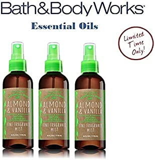 Bath and Body Works Essential Oils Collection - ALMOND & VANILLA Value Pack - Lot of 3 Fragrance Mist 6 oz each