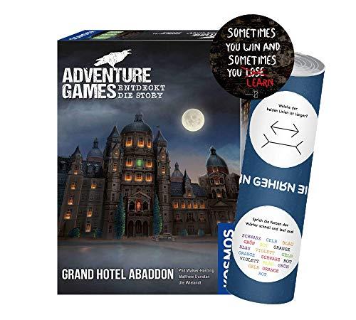 Collectix Adventure Games Grand Hotel Abaddon. Descubre la Story, juego de aventura a partir de 12 años, incluye 1 adhesivo de salida y 1 póster de ilusión óptica