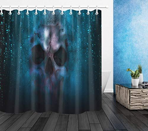 LB Halloween Duschvorhang Horror Schädel Polyester Extra Lang Bad Vorhänge Wasserdicht Anti Schimmel Badezimmer Deko Heimzubehör mit Vorhanghaken,180X200cm