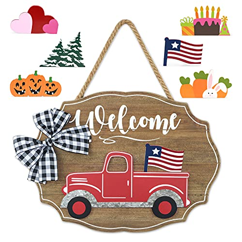 Winder Truck Welcome Sign for Front Door Red Truck Decor with 6-PC Interchangeable Seasonal Icons Farmhouse Wooden Wall hanging for Valentines Easter 4th of July Birthday Halloween Christmas Holiday Door hanger Decorations