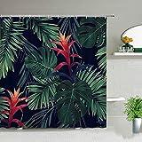 XCBN Tropische Palmblätter Grüne Pflanze Duschvorhang Set wasserdichte Gardinen 3D-Druck Home Badezimmer Dekor Mode Display A18 150x200cm