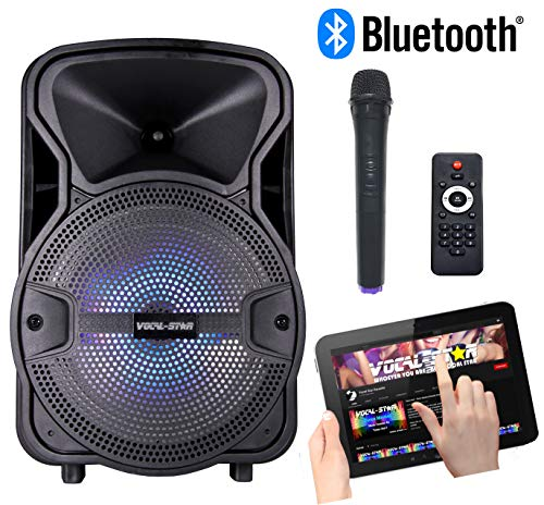 Draagbare Karaoke Machine & 100w Speaker met Bluetooth, 1 Draadloze Microfoon & LED Party Light Effect (CX8)