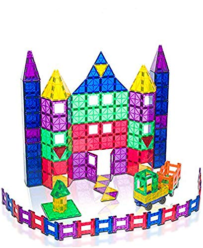 Playmags 150 Piece Set 150pcs Magnet Building Tiles - Clear Magnetic 3D Building Blocks, Creative Imagination, Inspirational, Pretend Play and Educational Conventional