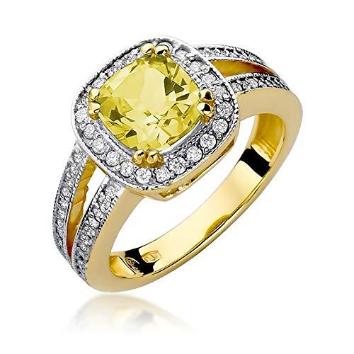 Anillo para mujer de oro amarillo 585 de 14 quilates, citrino auténtico, diamantes brillantes