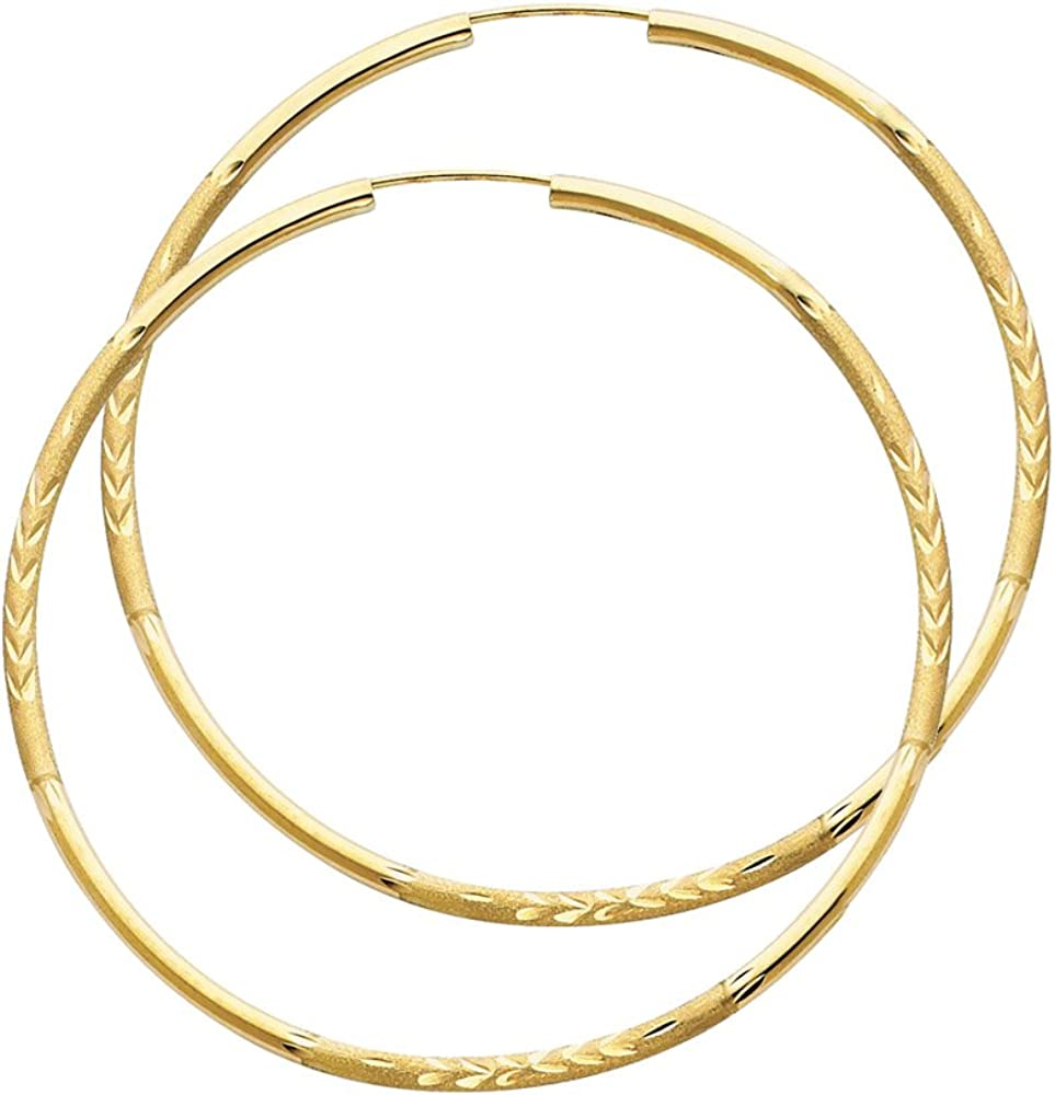 14k Yellow Gold 2mm Thickness Endless Hoop Earrings - 8 Different Size Available