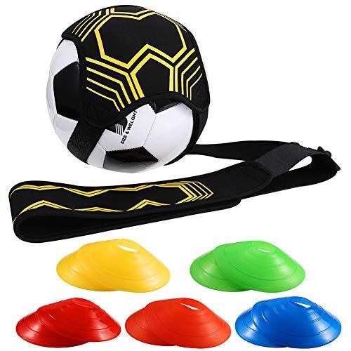 Xinstroe Football Kick Trainer Soccer Training Aid Freisprecheinrichtung für Solo-Training mit 10 PCS-Kegeln(EIN Stil)