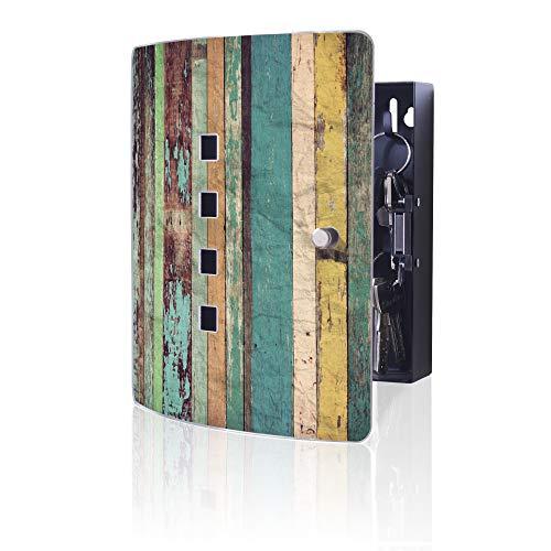 banjado Design Schlüsselkasten aus Edelstahl | 10 Haken für Schlüssel | praktischer Magnetverschluss | 24x21,5cm Motiv Bunte Bretterwand