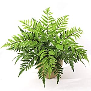 "Silk Flower Arrangements Larksilk Leatherleaf Fern Artificial 28"" Plant | 7 Frond Silk Greenery Bush for Indoor Home Décor or Outdoor Plant, Hanging Basket, Planter, 4-Pack"