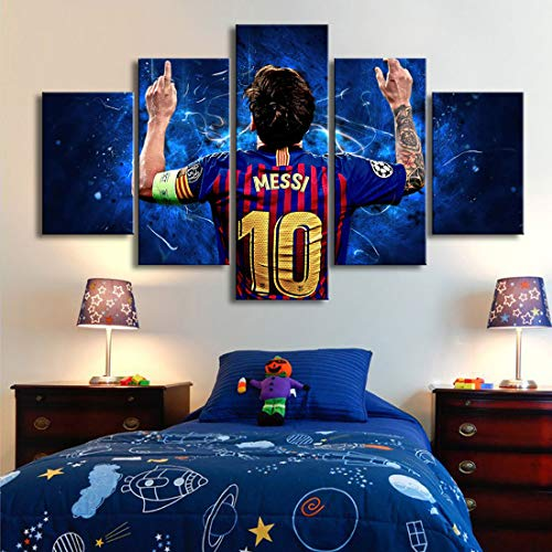 HSART 5 Piezas Lona Pinturas 10 Messi Posters Famoso Estrellas de Fútbol Mural Deportes Impresión Imagen Habitación de Los Niños Decoración,A,40x60x2+40x100x1+40x80x2