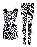 Fast Fashion Damen 2 teiliges Set Zebra Druck Ärmelloses Top Leggings