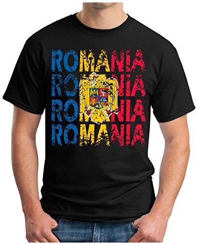 OM3® - Romania - T-Shirt Rumänien Fussball World Cup Soccer Fanshirt Sport Trikot, XL, Schwarz