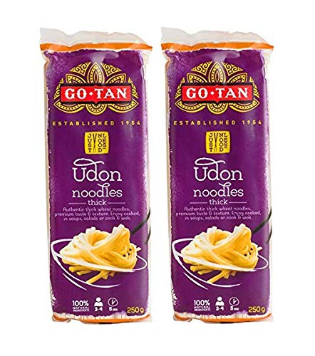 Go-Tan Establecido Fideos de Udon 1954 Fideos de trigo gruesos auténticos Sabor y textura premium/Fideos de trigo Auténtico grosor de espaguetis de trigo y consistencia premium - 2 x 250 gramos