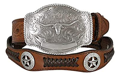 State of Texas Longhorn and Star Western Embossed Leather Belt (32, Brown)