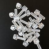 Confezione da 60 Viti a Testa Zigrinata in Plastica Acrilica Trasparente, a taglio + zigrinate M5 x 16mm - Acrilico Viti