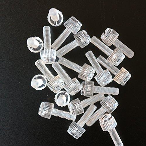 molet/ées et rainur/ées M6 x 20mm Lot de 20 vis transparentes /à serrage manuel en plastique acrylique