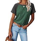 DREAMING-Chaqueta Suelta Superior para Mujer de Primavera y Verano Sudadera con Estampado Cruzado de Color a Juego Camiseta Casual de Manga Corta Suelta S