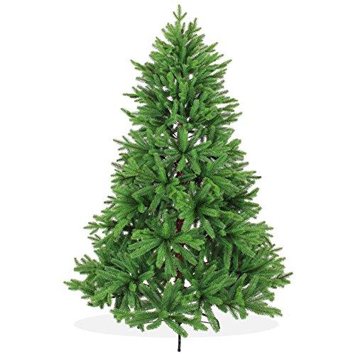 DekoLand Pe Spritzguss Weihnachtsbaum künstlich 180 cm (Ø 130 cm) 966 Zweige (1452 Spitzen), grün, Klappsystem