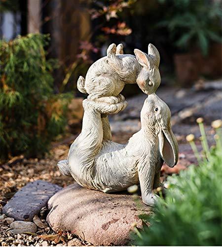 wxq Outdoor Kiss Rabbit Sculpture Animal Resin Ornaments Garden Patio Parent-child Rabbit Statue Crafts Home Desktop Decoration (Color : 1pcs)