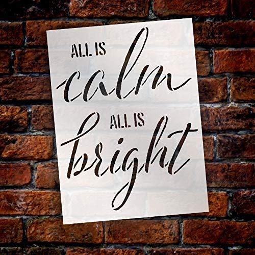 Free Brand Plantilla reutilizable de Mylar para el hogar con texto en inglés 'All is Calm All is Bright' para pintar letreros de madera, palets paredes para habitación