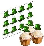 12 St Patricks Glücklich Hut Cupcake Stecker für St. Patricks Tag 'Aufrechtständer' reispapier kuchendekorationen (uncut)