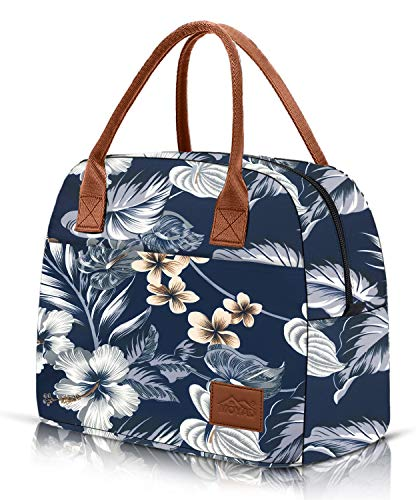 Moyad Sac Isotherme Repas Lunch Bag Sac Déjeuner Portable 12L Sac de Pique-niques Sac à Lunch Isolé pour Adultes et Enfants Sac de Boîte Style Élégant, Motif Fleurs Hawaïenne