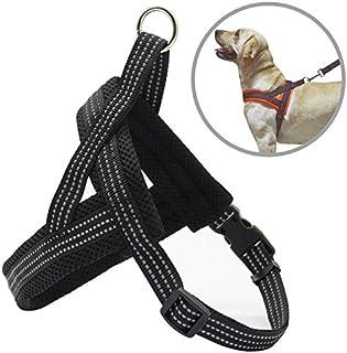 BPS® Arnés Correa para Perros Mascotas Collar Ajustable 4 Tamaños Colores para Elegir para Perro Pequeño Mediano y Grande (L, Negro) BPS-3883N