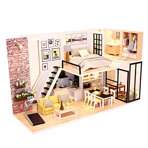 DIYTinyDollhouse Beginner 3DDIYdollhousekit DIY Dollhouse Kits for Adults Manual Educational Girls Toy with LED Light&Dust Proof Wooden House DIY Miniature Dollhouse Kit Accessories 1/24 Scale