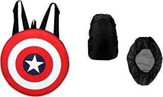 Purple Crane Unisex 20 L Red Avengers Captain America Shield Round Polyester School and College Bagpack