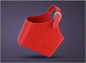 Portable Leather Basket Basket Leather Gift Basket Storage Basket Leather Multi-Color MJZDD (Color : A, Size : 38×18×57.5cm)