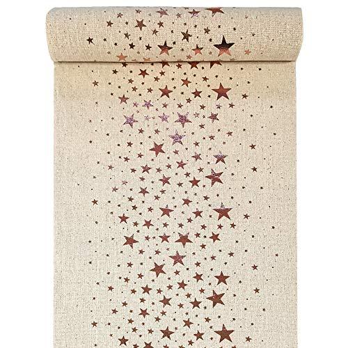 in due Tischläufer Sterne Metallic Natur/Roségold 28 cm x 3 m - Weihnachten Tischdekoration
