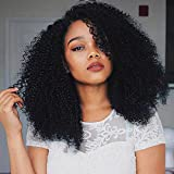 Longqibeauty Afro Curly Lace Front Synthetic Wig, Kinky Curly Shoulder Length African Wigs Heat Resistant Fiber Hair L Part Right Side Parting Replacement Wig with Wig Cap Natural Black 16 Inches