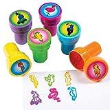 cama24com Kinderstempel Flamingo Tukan Papagei Kakadu und Pfau 6 Stück Mitgebsel mit Palandi® Sticker