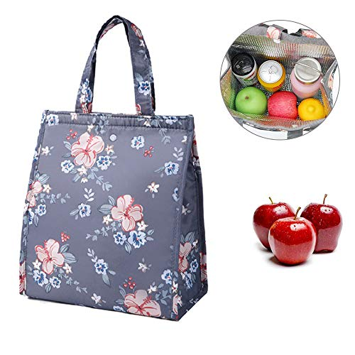 HASTHIP® Insulated Lunch Bag tote Bag for Women Wide Open Insulated Cooler Bag Water-Resistant Thermal Leak-Proof Lunch organizer for Men Girls Children Outdoor Picnic Work (Dark Grey) Oxford