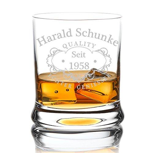 polar-effekt Leonardo Whiskyglas Personalisiert 350 ml - Tumbler für Whiskey, Scotch und Co - Männer-Geschenk mit Gravur Name und Jahreszahl - Motiv Quality Whisky