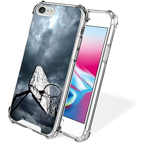 UZEUZA Funda para iPhone 7/8/SE2 transparente parachoques cubierta anti-arañazos bordes transparentes con aro de baloncesto