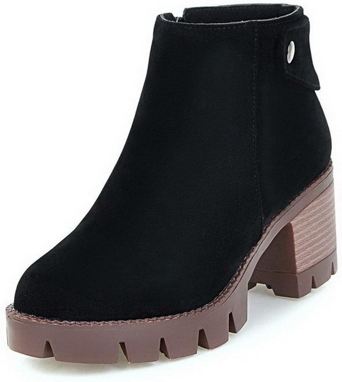a7b9a44427d2c Women's Zipper Imitated Suede Solid Ankle-high Boots Kitten-Heels ...