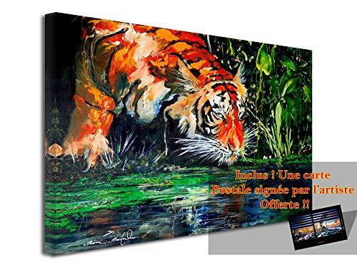 Decliina muurschildering, muurschildering, voor de woonkamer, bedrukt canvas, kunstdruk op canvas, EYE OF The Tiger van Rémi Bertoche, 50 x 30 cm 120x80 cm Meerkleurig