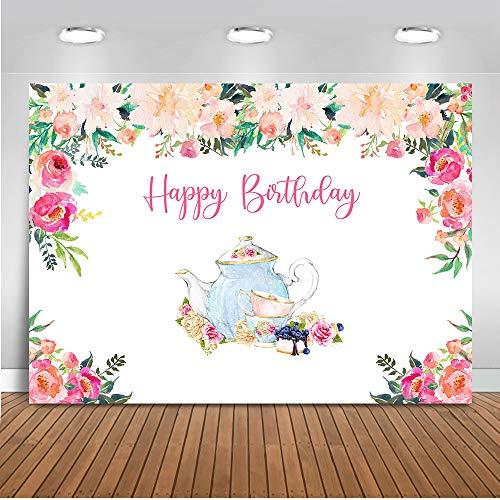 Mocsicka Tea Party Birthday Backdrop Floral Tea Party Photography Background 7x5ft Vinyl Tea Party Wonderland Banner Backdrops