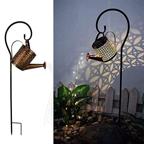 Luces de ducha de jardín LED, luz de jardín de ducha, regadera con energía solar con luces, luces de decoración al aire libre cascada cadena de vid para decoración de patio