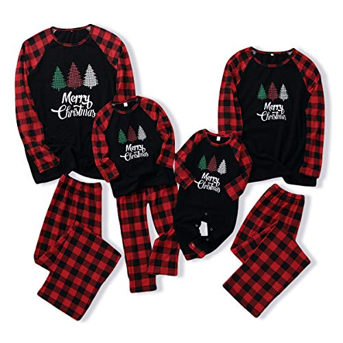Christmas Matching Family Pajamas Sets Red Plaid Merry Christmas Sleepwear 2Pcs Pjs Fall Winter Clothes Boys and Girls (Red Plaid & Black, 8-9 T)