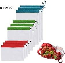 Leenou Bolsas Compra Reutilizables Ecológicas Bolsa de Malla para Almacenamiento Fruta Verduras Juguetes Lavable y Transpirable 3 Diversos Tamaños 9 Unidades