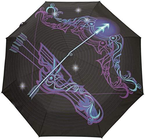 INSTO Paraguas Plegable a Prueba de Viento Zodiaco Sagitario Sagbrellas-Auto Abierto Manija a Prueba de Deslizamiento