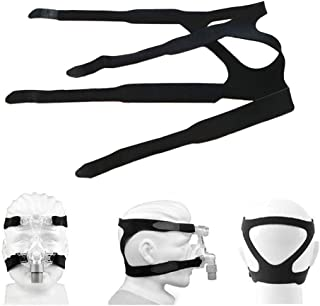 Universal CPAP Headgear Replaces Respironics and ResMed Straps - Comfortable 4 Point Connection Headgear Straps for Most All Nasal & Full-face Sleep (MASK NOT Included (Black