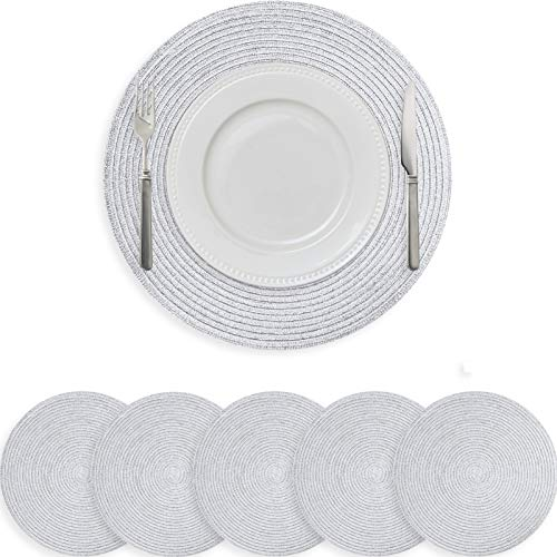 wiipara Round Placemats Heat Resistant Woven Round Placemat Sets Braided Weave Round Table Mats for Kitchen Dining Table Round Place Mats Set of 6, 38cm (Silver)
