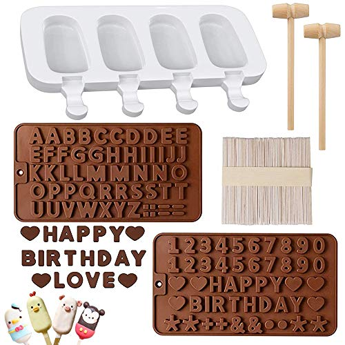 Silicone Popsicle Molds 4 Cavities Homemade Ice Pop Molds Popsicle Maker with 50 Wooden Sticks amp 2 Wooden Hammers2 Packs brown Letter Number Chocolate Molds for Chocolate Ice Cream Dessert Cake
