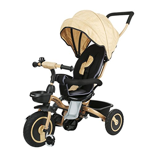 Fascol Folding Tricycle Childrens Tricycle Kids Trike 3 Wheel Bike for Children 6 Month - 5 Years, Gold