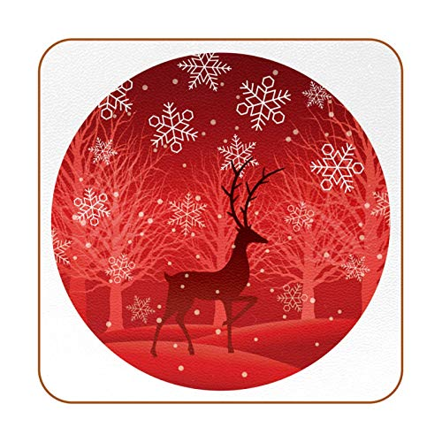 Drink Coasters Set of 6 - Tabletop Protection for Any Table Type, Wood, Glass, Stone Tables - Perfect Soft Coaster Fits Any Size of Drinking Glasses Christmas Snowflake Reindeer-01