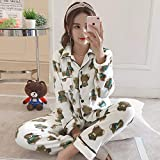 YPDM Pijama,12 Style Elegant Fashionable Thick Warm Flannel Women Pajamas Set Winter Loose Print Sleepwear for Women Long Woman Pant  Top,R HT 226 BAI,XL